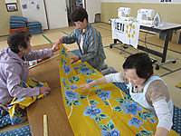 Sewing Kimonos at a Community Cafe