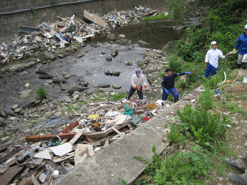 Debris removal from a stream