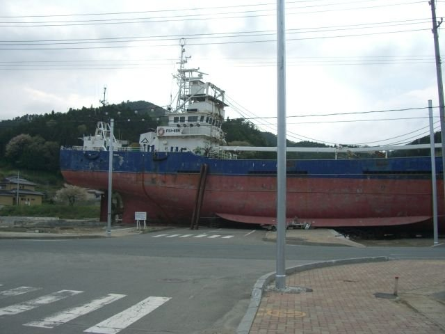 Fishing boat on a Kesennuma street (2)