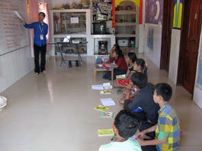 A lesson in Cambodian Children's House of Peace