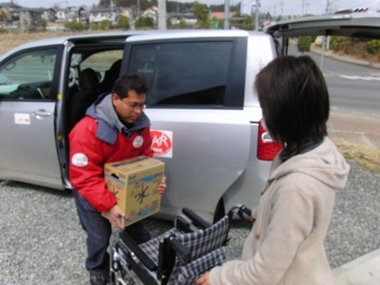 Relief items arriving in Higashi-Matsushima City
