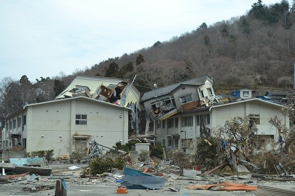Houses are piled on top of each other