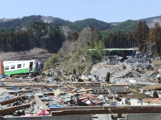 A train parted in two by the tsunami