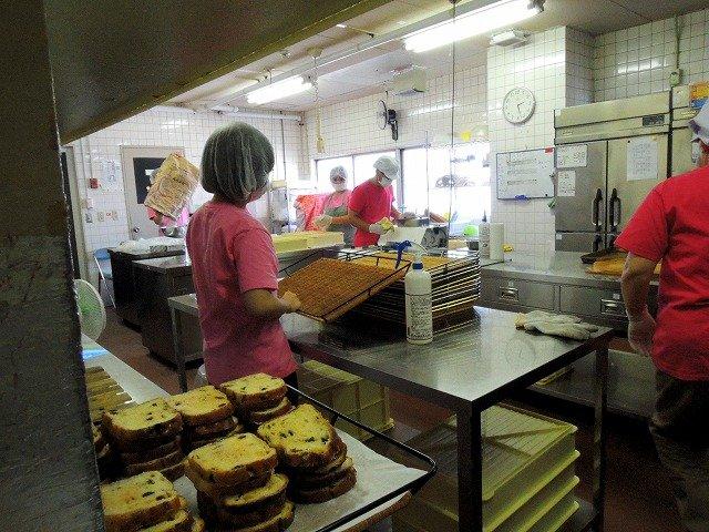 Facility users baking bread
