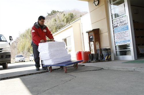 "Donations od towels arrive at ""Hamanasu no Sato"""