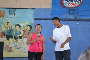 Karen and Jose Ernesto singing a celebration song