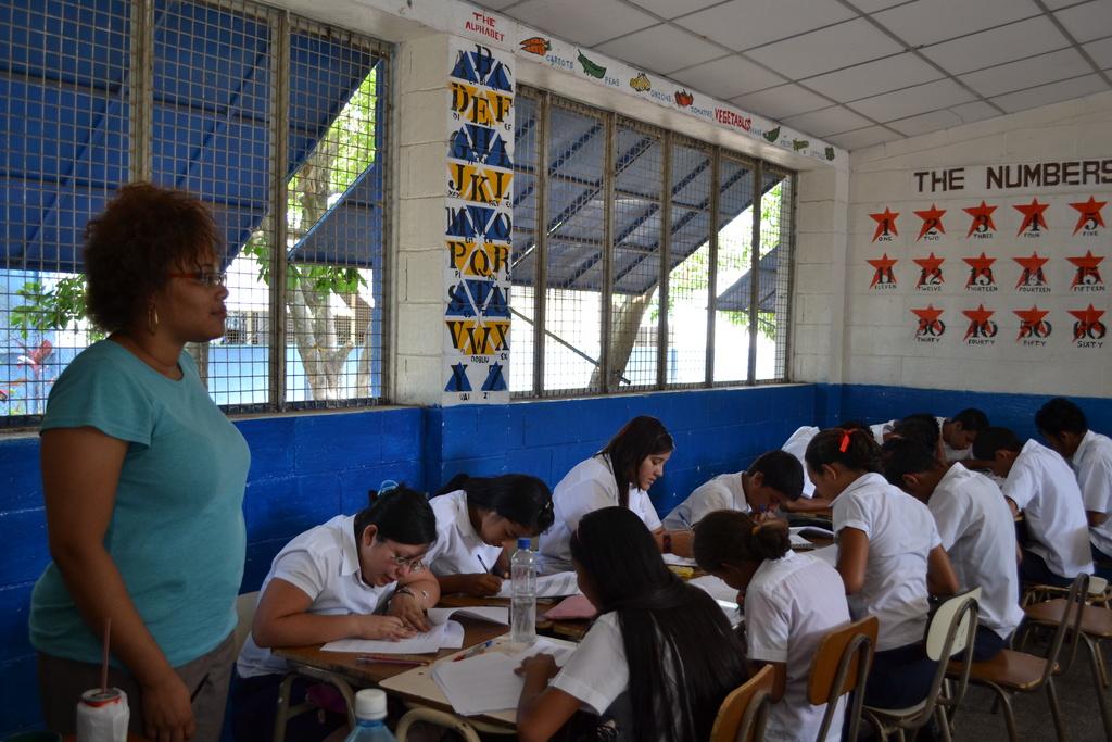 Children doing the survey & researcher