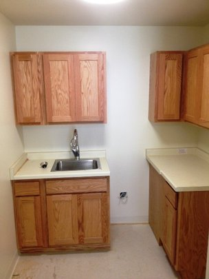 A kitchen in one of the new apartments