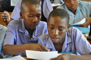 Maahlamele Eco Club members studying.