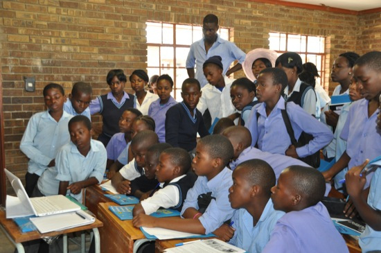Maahlamele Eco Club watching DVD about rhino