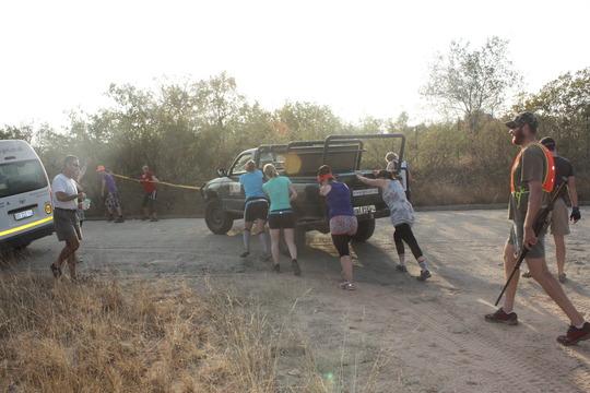Pushing the car from Karongwe to Daktari