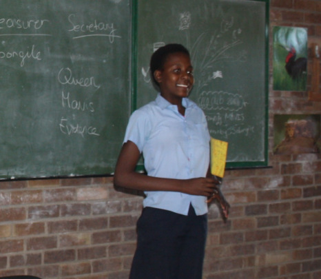 Mavis giving her speech for Eco Club Secretary
