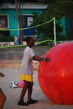 Blind campers playing with the huge ball
