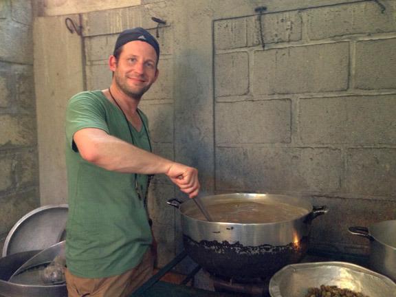Tom manning the huge pot of gumbo