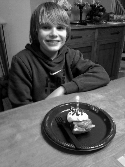Jaden enjoying birthday pie