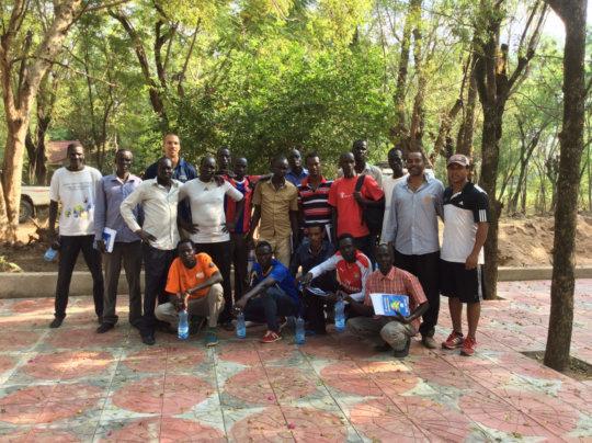 M.Biyaylgne & B.Franklin w/ coaches in Ethiopia