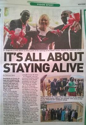 Uganda Newspaper Article: Patient Ward Dedication