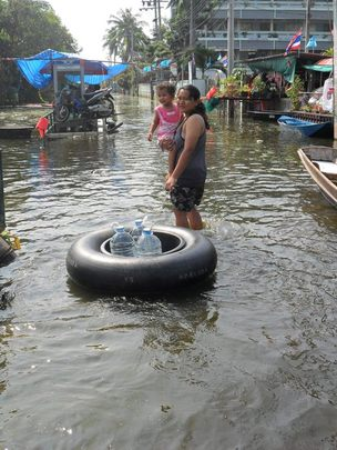Local people collecting supplies