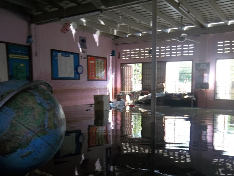 BEFORE: flooded classroom (from GVI archive)