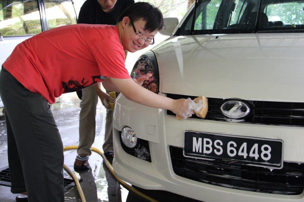 Washing a car is hard work!