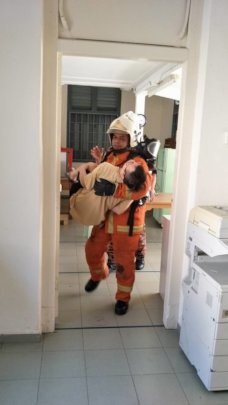 Simulation with a YAP trainee during fire drill