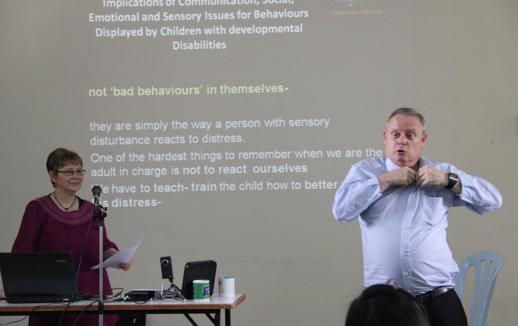 Dr Moyle and Dr Parsons at a workshop session.