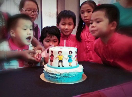 Cake cutting ceremony during the party