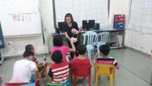 SAP students having fun during language time