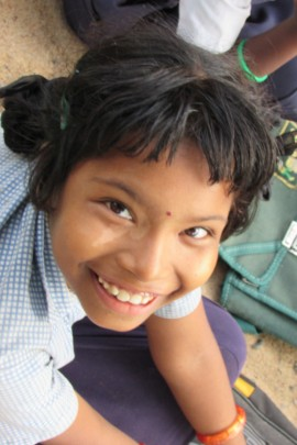 A happy child from project