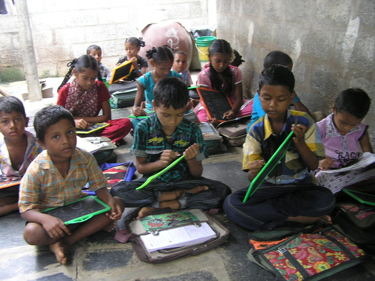 children in a small classroom