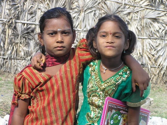 Two sisters attending BASS new school at Ramarajun