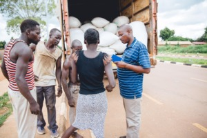 Preparing a large shipment of food for S. Sudan