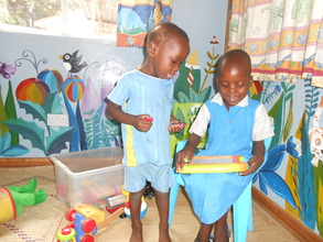 Patients in the play area of the ward at QECH