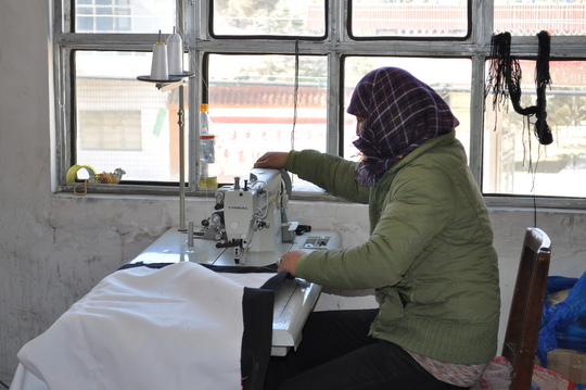 Women Sewing Tent