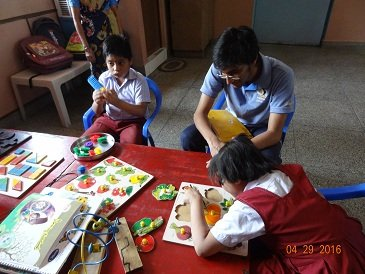 With children at Special education Unit