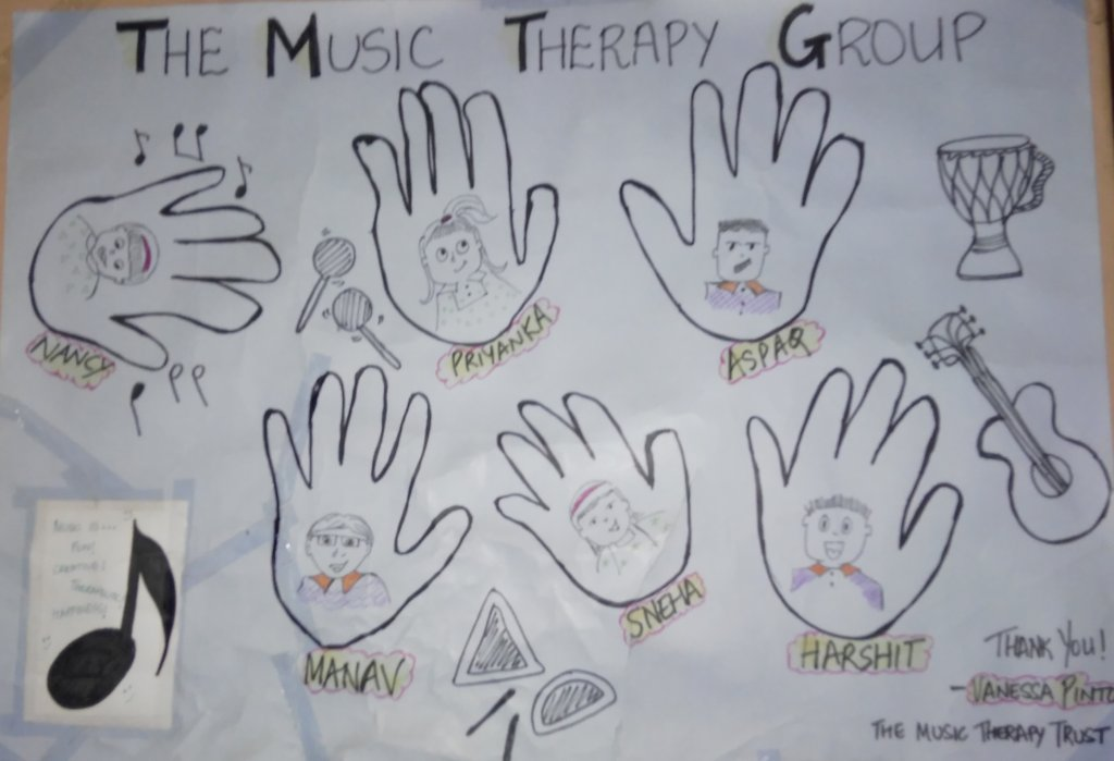 Hand prints of children involved in Music Therapy