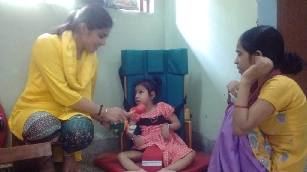 Roopali with the physiotherapist Ms. Anju on left