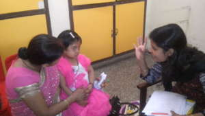 Sneha with the Speech Therapist