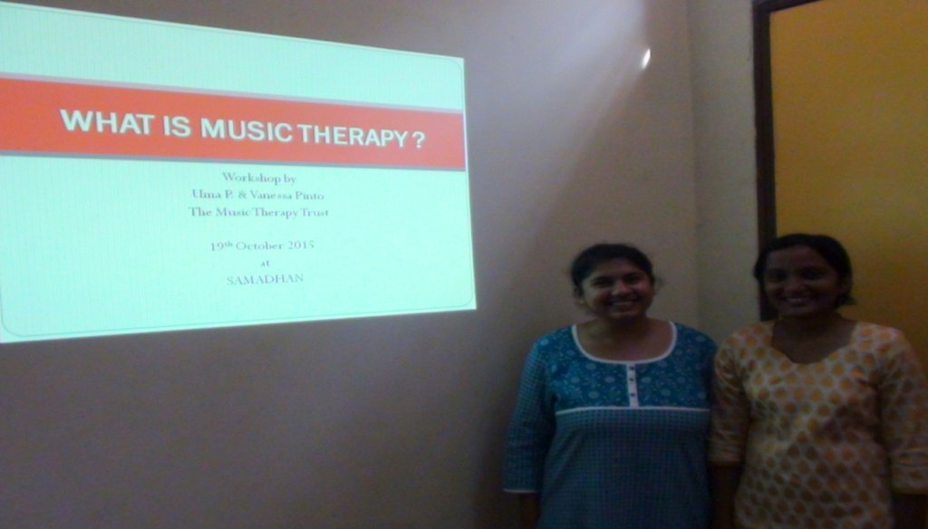 Ms. Vanessa giving Presentation on Music Therapy
