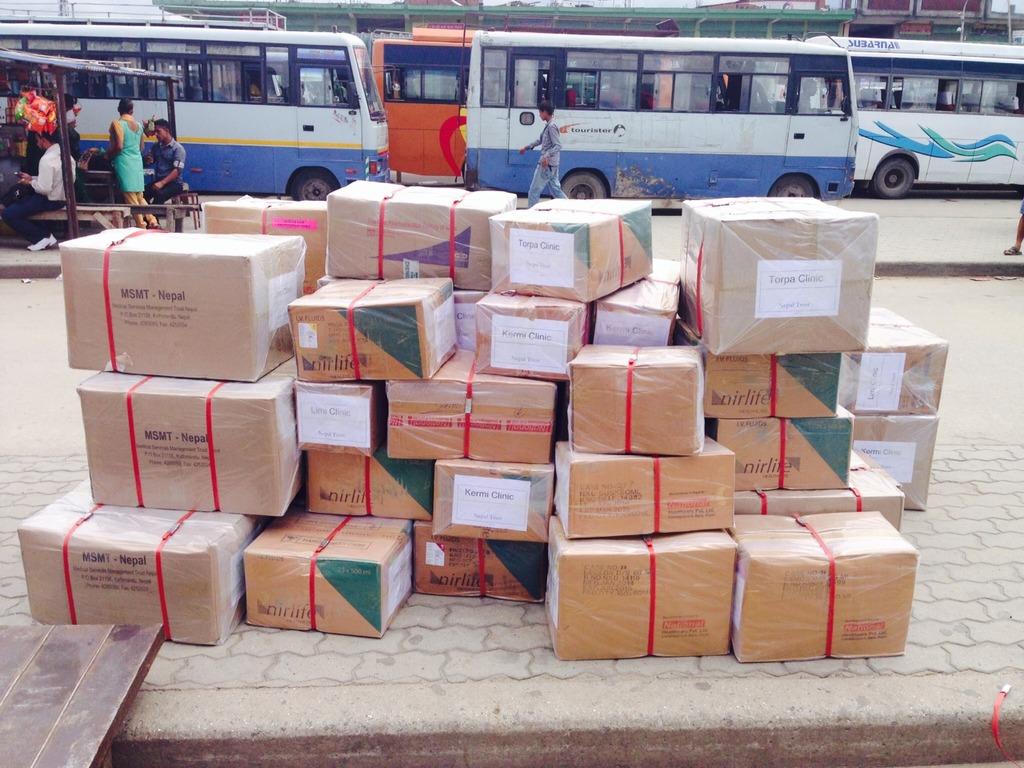 Medicines awaiting air shipment.