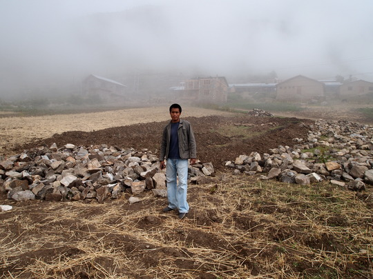 Sagar stands at the site of a future hydro project