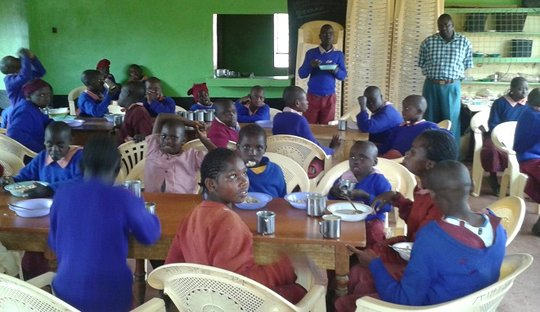 Athi Children having lunch in the Dining Hall