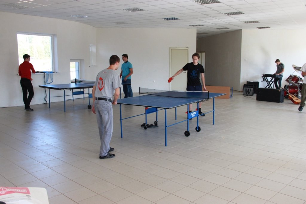 playing ping pong during a break