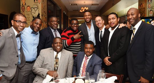 Jerry Seinfeld + Michael Strahan w/ dads