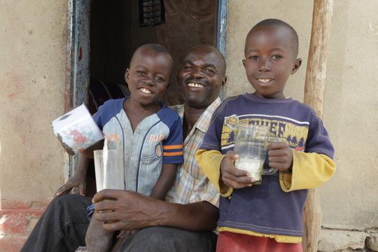 Leston with sons Cornelius and Misheck