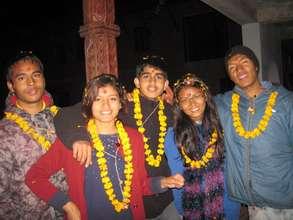 Laxmi, second from left, at Tihar festival