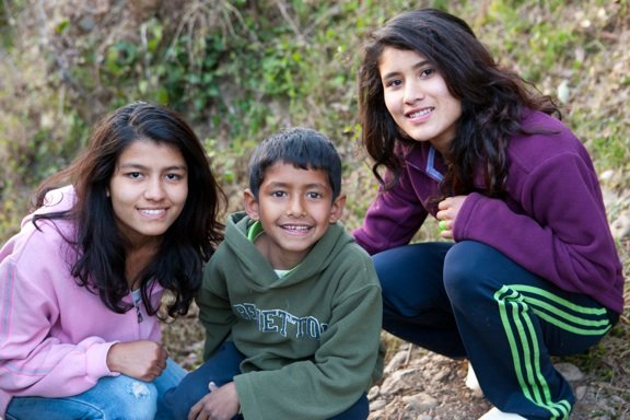 Laxmi (L) with Santosh and Pratima