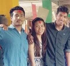Sajan, Ganga, Ashok at a birthday party!