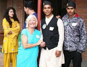 Sajan and guests at Ama Ghar