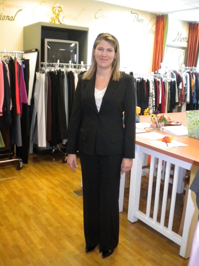 The Self-Esteem center is a critical part of the services Fresh Start offers.  This woman has just been through a wardrobing seminar at Fresh Start and is now ready for a job interview or court appearance and can face what she has upcoming with confidence!